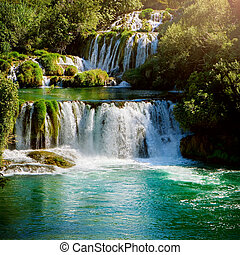 nemzeti park, krka, horvátország, vízesés, park.