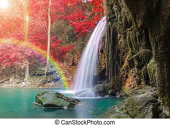 nemzeti park, mély, erawan, vízesés, erdő