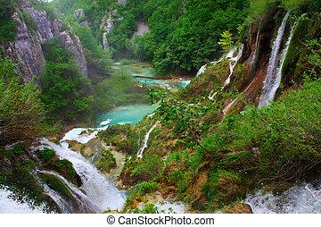 nemzeti park, plitvice, tavak