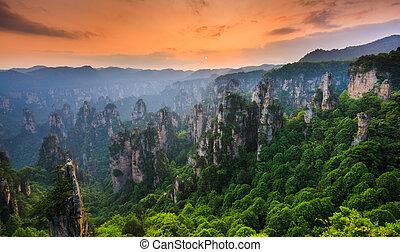 nemzeti park, zhangjiajie, napnyugta, kína, erdő,...