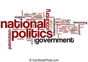 nemzeti, politika, szó, felhő