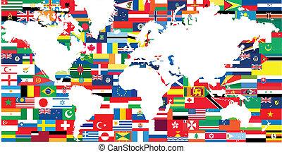 nemzeti, zászlók, és, világ térkép