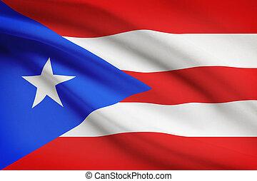 nemzetközösség, fodros, sorozat, rico., puerto, flags.