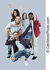 nemzetközi, férfiak, nők, csoport, ov, mosolyog vidám, móka, birtoklás