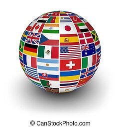 nemzetközi, földgolyó, zászlók, világ