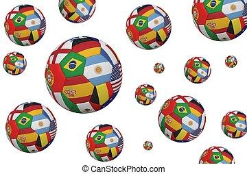 nemzetközi, focilabdák, zászlók