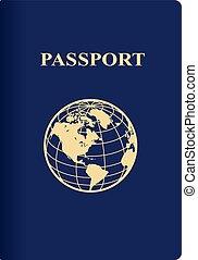 nemzetközi, kék, útlevél