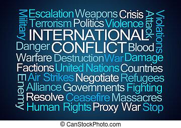nemzetközi, konfliktus, szó, felhő