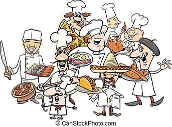nemzetközi konyha, konyhafőnökök, csoport, karikatúra