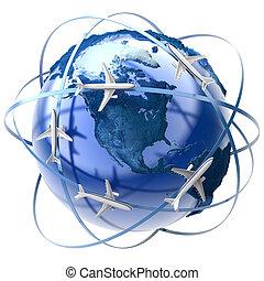 nemzetközi, levegő utazás