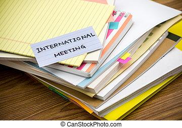 nemzetközi, meeting;, a, cölöp, közül, ügy vádirat, képben látható, a, íróasztal