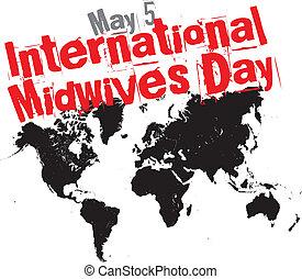 nemzetközi, midwives, nap