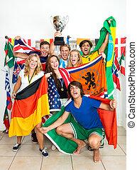 nemzetközi, rajongó, sport