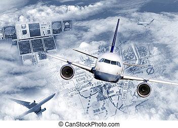 nemzetközi, szállítás, levegő