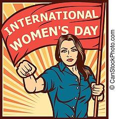 nemzetközi, women's, nap, poszter