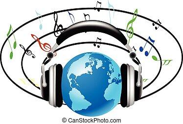 nemzetközi, zene, hangzik