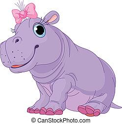 nena, caricatura, hipopótamo