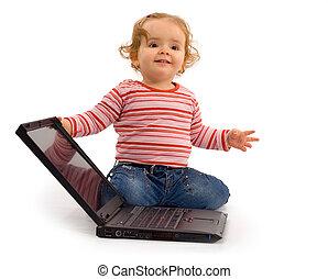 nena, con, computador portatil