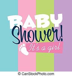 nena, ducha, tarjeta de felicitación