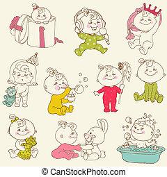 nena, lindo, doodles, -, para, diseño, y, álbum de recortes, -, en, vector