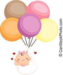 nena, recién nacido, mosca, con, globos