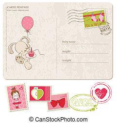 nena, saludo, postal, con, conjunto, de, sellos