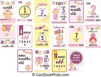 nena, semanas, y, meses, tarjeta