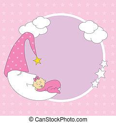 nena, sueño, en, la luna
