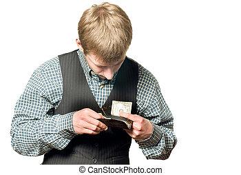 nenhum dinheiro, -, homem negócios, com, um dólar