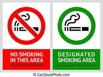 nenhum fumar, e, fumar, área, etiquetas, -, jogo, 9