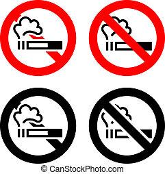nenhum fumar, sinais