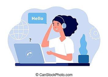nennt, laptop, unterstuetzung, service, verwalter, vektor, ...