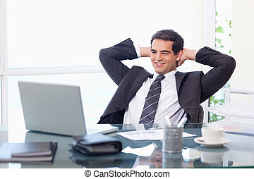 nenucený, obchodník, pracovní, s, jeden, počítač na klín