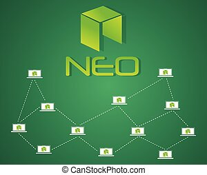 neo, blockchain, bitcoin, achtergrond, stijl