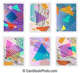neo, estilo, elements., colorido, cartel, set., moderno, ...