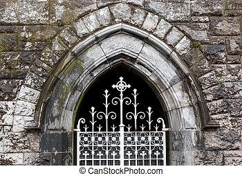 neo, gótico, ventana arqueada