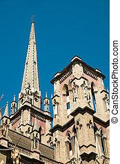 Detail take of a neo gothic church facade in Cordoba, Argetina