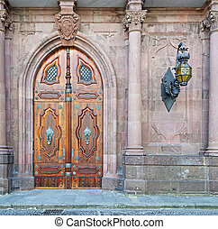 detail of a old door in neo-gothic style