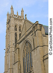 Facade of neo gothic lutheran church in Minneapolis with bell tower