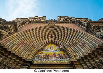 Neo gothic portico of Iglesia de los Capuchinos, Cordoba, Argentina