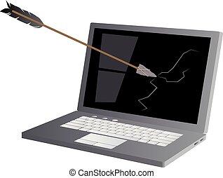 An arrow with a stone arrowhead strikes a laptop computer screen as a metaphor for anti-technology movement, EPS 8 vector illustration