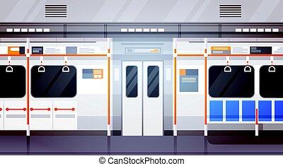neobsazený, metro vagón, vnitřní, moderní, město, veřejná...