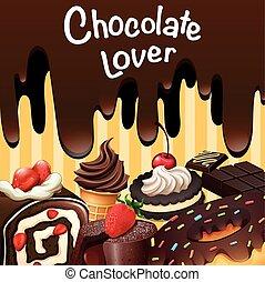 neobvyklý, druh, o, čokoláda, moučníky