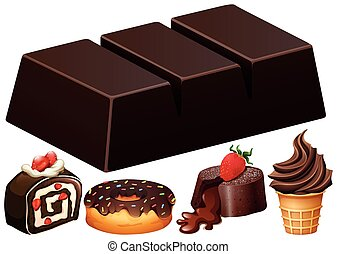 neobvyklý, druh, o, čokoláda, zákusek