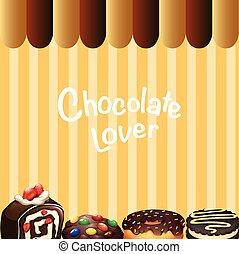 neobvyklý, druh, o, zákusek, čokoláda, chuť