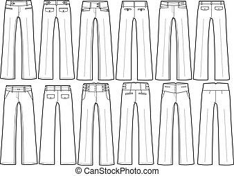 neobvyklý, kalhoty, dáma, móda, formální