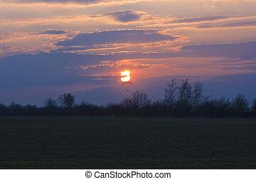 neobydlený, paraglider, a, západ slunce
