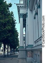 Neoclassic Architecture Detail. Ancient Columns Architectural Design.
