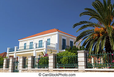 Neoclassic house from Lixouri city at Kefalonia island in Greece