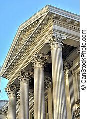 neoclassical, architecture, à, colonnes, depuis, ville, salle, dans, new york